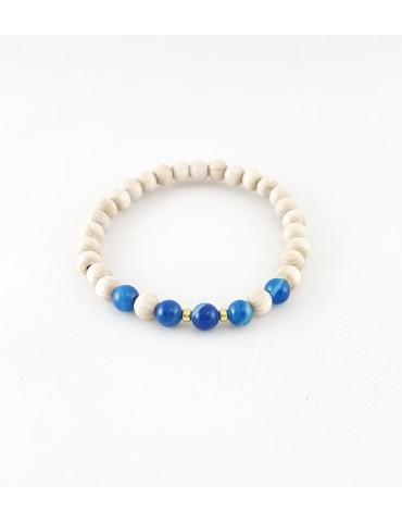 Bracelet Wood & Stone Agate...
