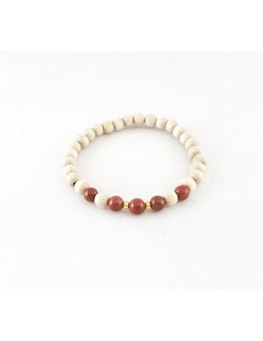 Bracelet Wood & Stone Gold...