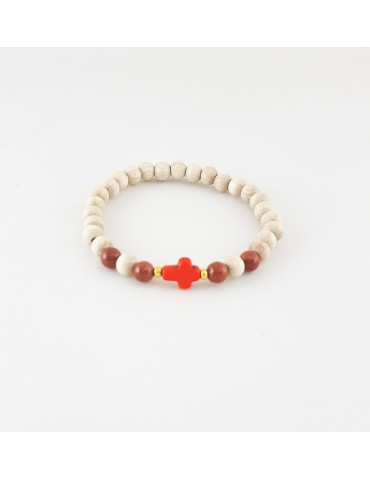 Bracelet Wood & Stone croix...