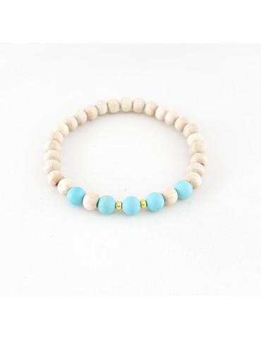 Bracelet Wood & Stone Howlite turquoise