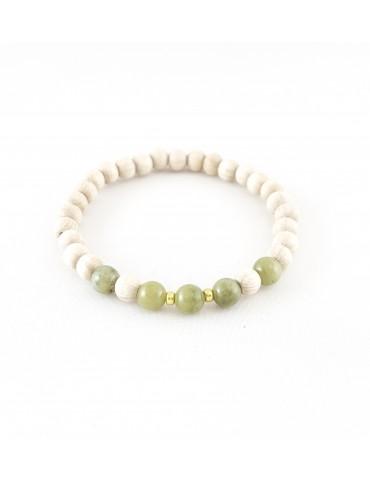 Bracelet Wood & Stone Jade...