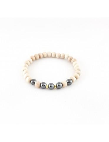 Bracelet Wood & Stone Hématite