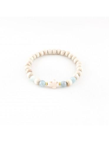 Bracelet Wood & Stone Aigue marine