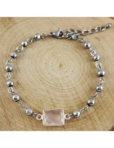 Bracelet Léa Quartz rose